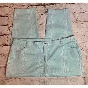 Teal Faux Snakeskin Jeans